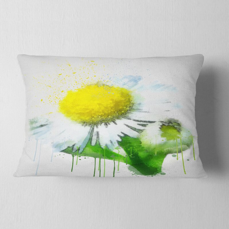 East Urban Home Floral Chamomile Sketch Watercolor Lumbar Pillow