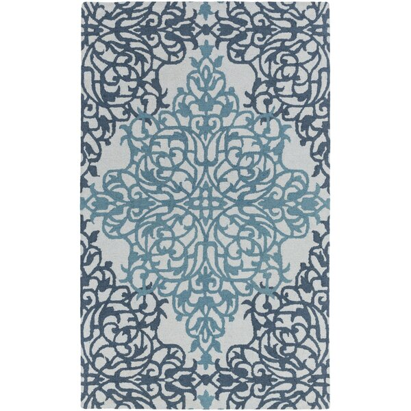 Kerner Hand-Tufted Teal/Light Blue Area Rug by Ophelia & Co.