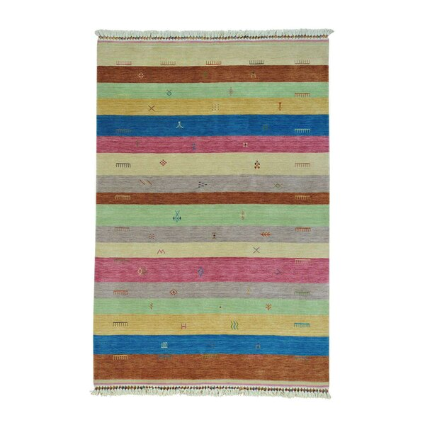 One-of-a-Kind Ferriera Striped Modern Oriental Hand-Knotted Pink/Green Area Rug by Latitude Run