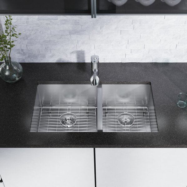 Stainless Steel 32 L x 19 W Double Basin Undermount Kitchen Sink with Additional Accessories by René By Elkay