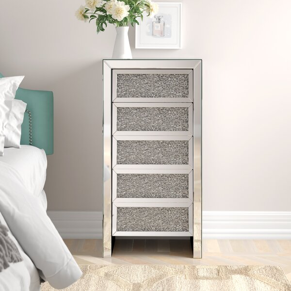Nathanael Crystal 5 Drawer Accent Chest by Rosdorf Park Rosdorf Park