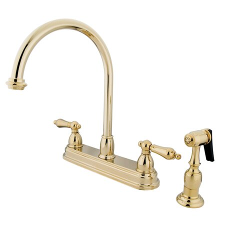 Restoration Double Handle Kitchen Faucet with Side Spray by Kingston Brass Kingston Brass