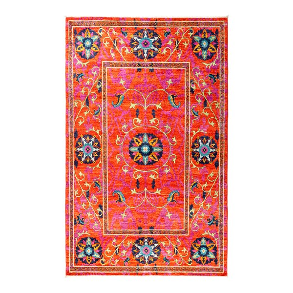 One-of-a-Kind Suzani Hand-Knotted Red/Pink/Blue Area Rug by Darya Rugs