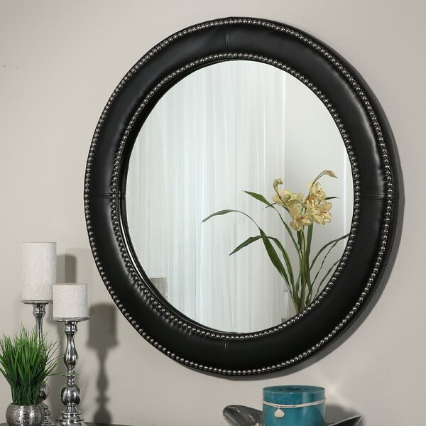 Round Leather Framed Accent Wall Mirror by Darby Home Co