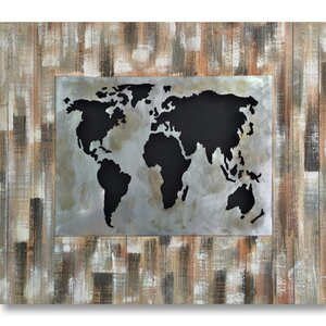 'World Revealed Mixed Media' Graphic Art on Wood by Benjamin Parker Galleries