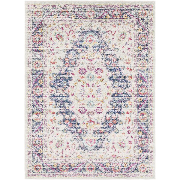 Almonte Distressed Pink/Navy Area Rug by Bungalow Rose