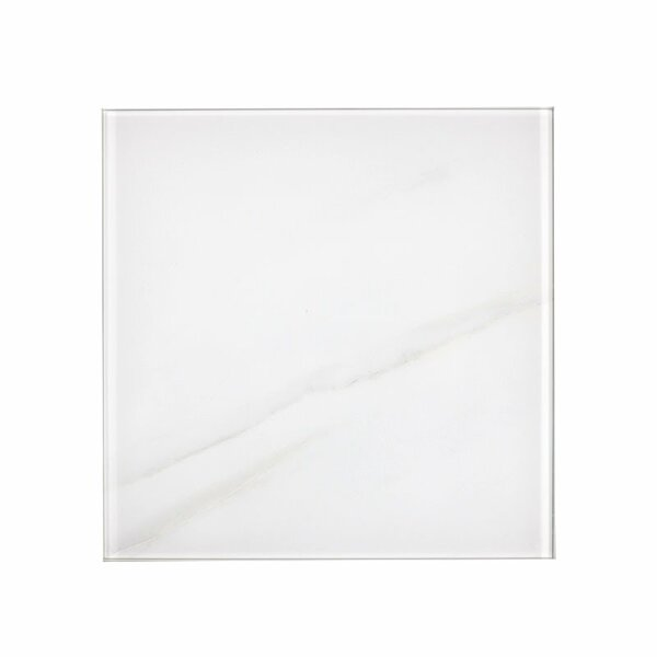 Nature 8 x 8 Glass Subway Tile in Calacatta White/Gray Veins by Abolos