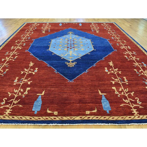 One-of-a-Kind Beauregard Open Field Antiqued Bidjar Natural Dyes Hand-Knotted Red Wool Area Rug by Isabelline