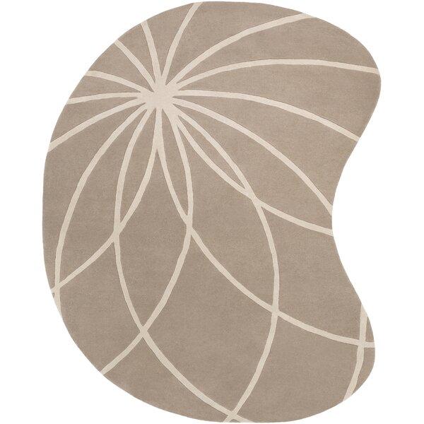 Carnahan Hand-Tufted Wool Khaki/Cream Area Rug by Ebern Designs