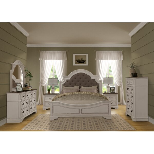 Lilia Oak Wood Standard 4 Piece Bedroom Set by One Allium Way