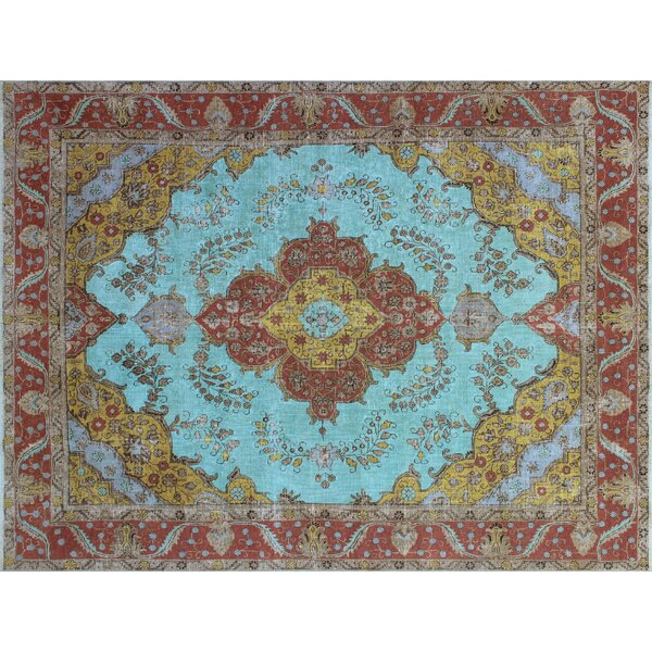 One-of-a-Kind Demona Overdyed Distressed Hand-Knotted Blue Area Rug by World Menagerie