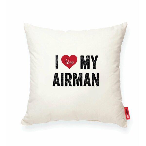 Pettitt I Heart Airman Cotton Throw Pillow by Wrought Studio