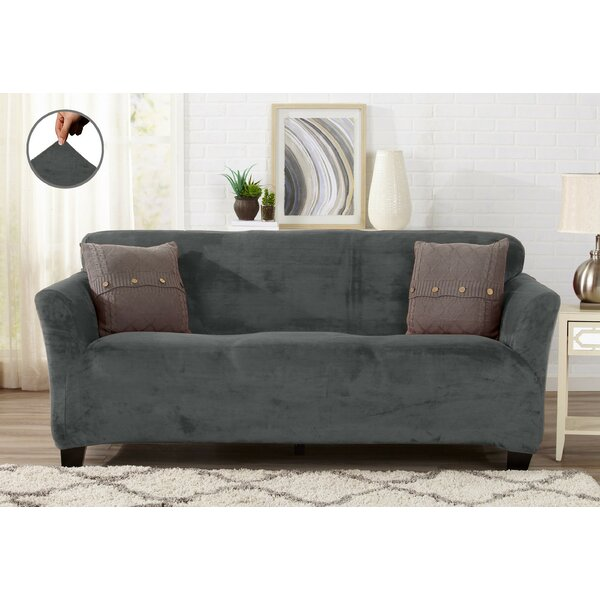 Velvet Plush Form Fit Stretch Box Cushion Sofa Slipcover by Winston Porter
