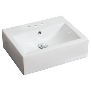 Savings Ceramic Rectangular Vessel Bathroom Sink with Overflow By American Imaginations