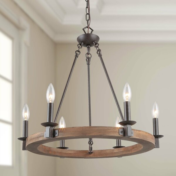 Fitch 6 - Light Candle Style Wagon Wheel Chandelier By Gracie Oaks