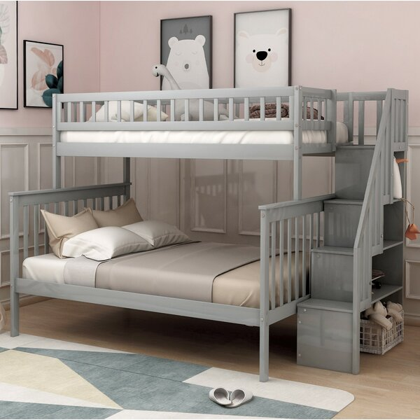 Stairway Twin over Full Bunk Bed with Shelves by Harriet Bee