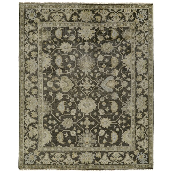 Newby Hand-Knotted Beige/Charcoal Area Rug by Canora Grey