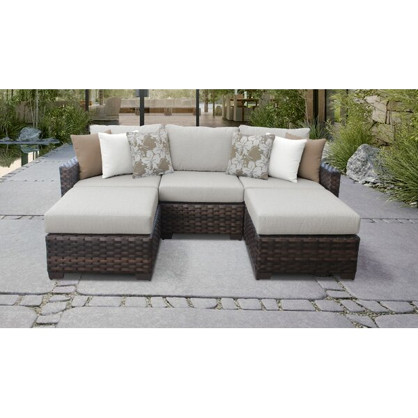 Kathy Ireland Homes & Gardens River Brook Single Ash Wicker Patio Sectional with Cushions by TK Classics