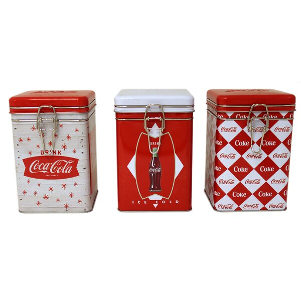 Coca-Cola Square Lock-Top 3 Piece Kitchen Canister Set by Tin Box Company