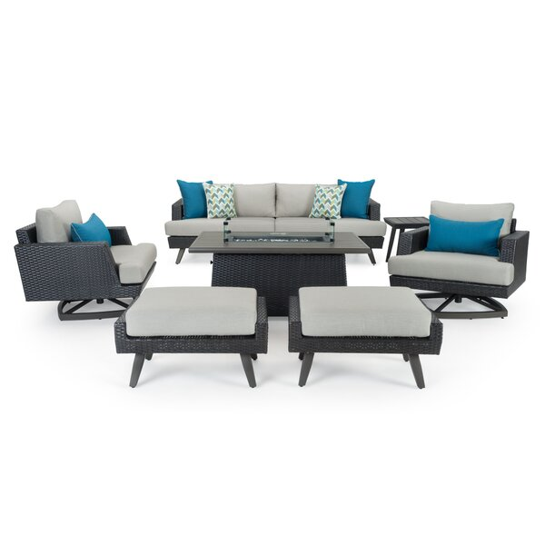 Mangus Manous Casual 7 Piece Rattan Sunbrella Sofa Seating Group with Cushions by Highland Dunes