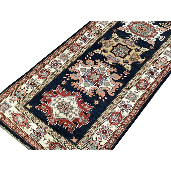 One-of-a-Kind Kazak Handwoven Runner 2'7 x 10'3 Wool Blue/Brown Area Rug