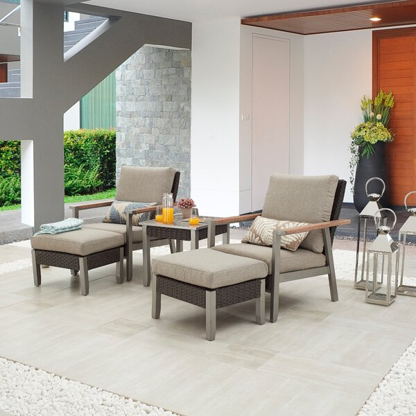 Sevda Outdoor 5 Piece Seating Group with Cushions by Latitude Run