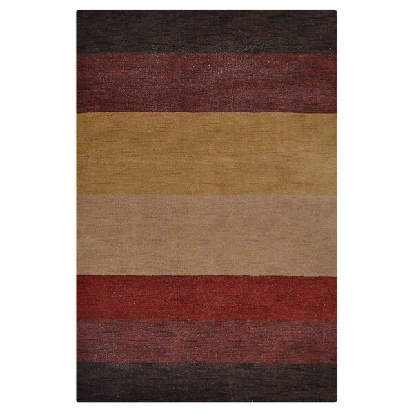 Ry Hand-Woven Wool Brown/Red Area Rug by Latitude Run