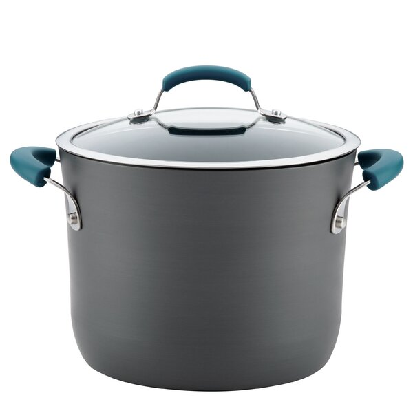 8 qt. Non-Stick Covered Hard-Anodized Aluminum Stock Pot by Rachael Ray