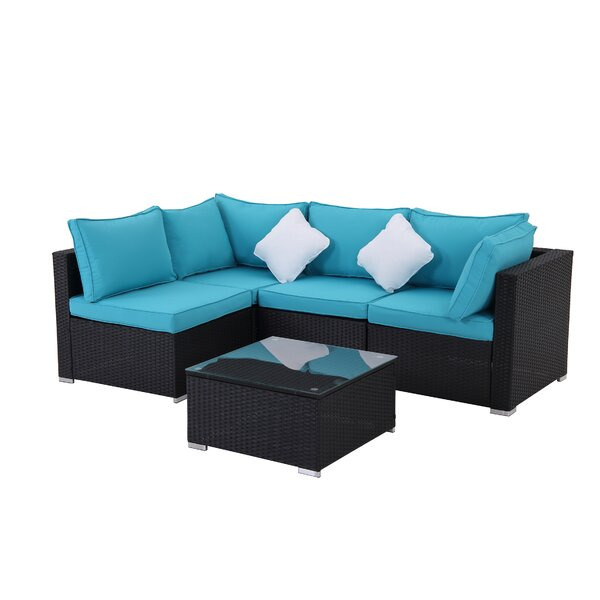 Odder 5 Pieces Rattan Sofa Seating Group with Cushions by Latitude Run