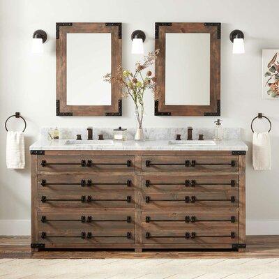 Signature Hardware Pine Marble Double Bathroom Vanity Set Vanities