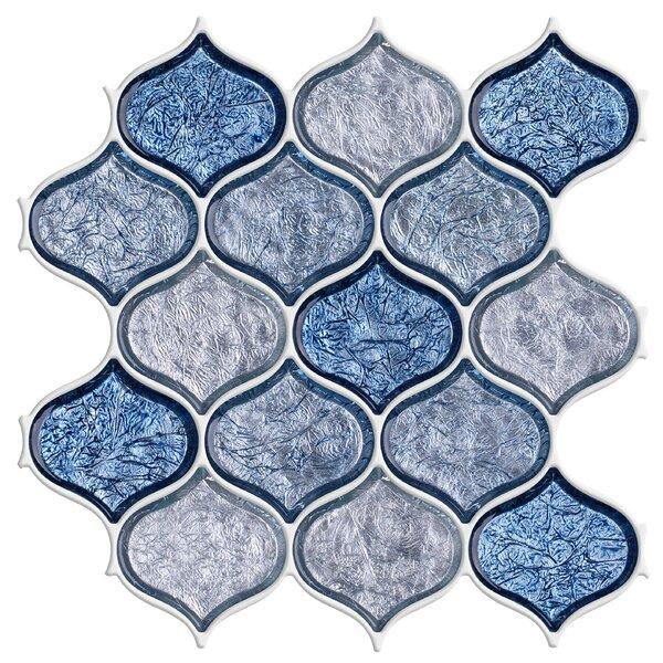 Weaves Glass Mosaic Tile in Blue Blend Peach/Ocean by Byzantin Mosaic