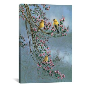 'Gold Finches' Photographic Print on Canvas by Astoria Grand
