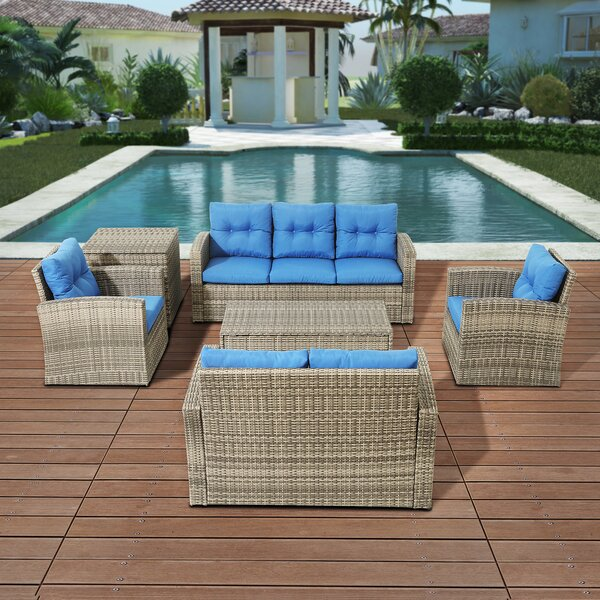 Yusuf 6 Piece Rattan Sofa Seating Group with Cushions by Bayou Breeze