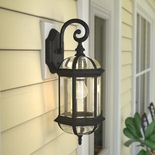 Compare prices Hartshorne 1-Light Outdoor Wall lantern By Three Posts