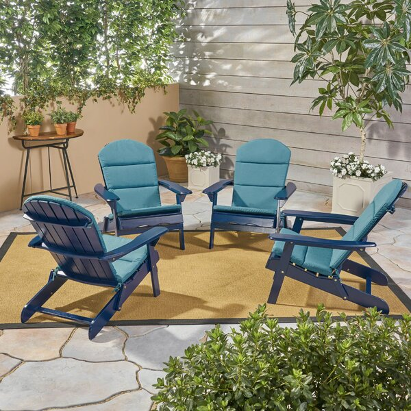 Farris Outdoor Solid Wood Folding Adirondack Chair (Set of 4) by Rosecliff Heights Rosecliff Heights
