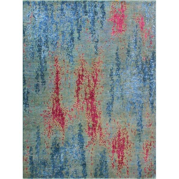 Stevan Hand-Knotted Wool Blue Area Rug by Bloomsbury Market