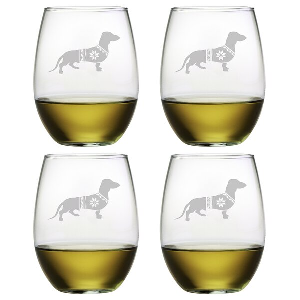 Festive Dachshund Glass 21 oz. All Purpose Stemless Wine Glass (Set of 4) by The Holiday Aisle