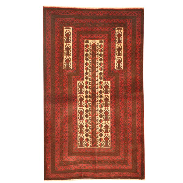 Prentice Hand Knotted Wool Red/Brown Area Rug by Isabelline