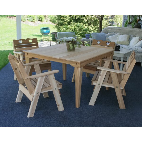 Marcus Country Hearts 5 Piece Dining Set by Rosecliff Heights