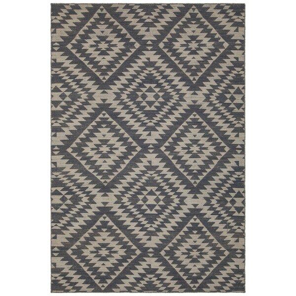 Jones Hand-Woven Wool Black/Beige Area Rug by Union Rustic