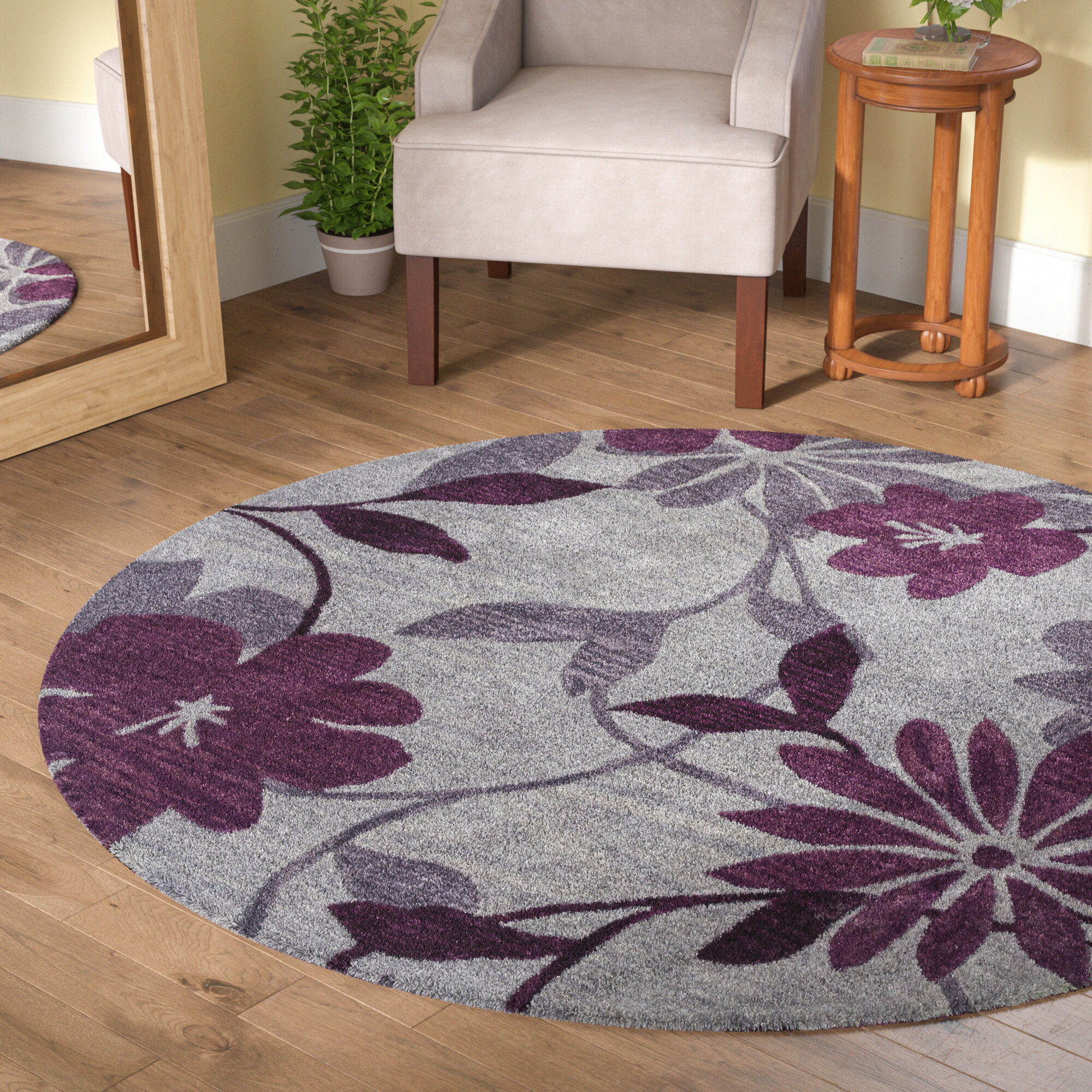 Winston Porter Bradshaw Gray/Plum Elegance Area Rug U0026 Reviews | Wayfair