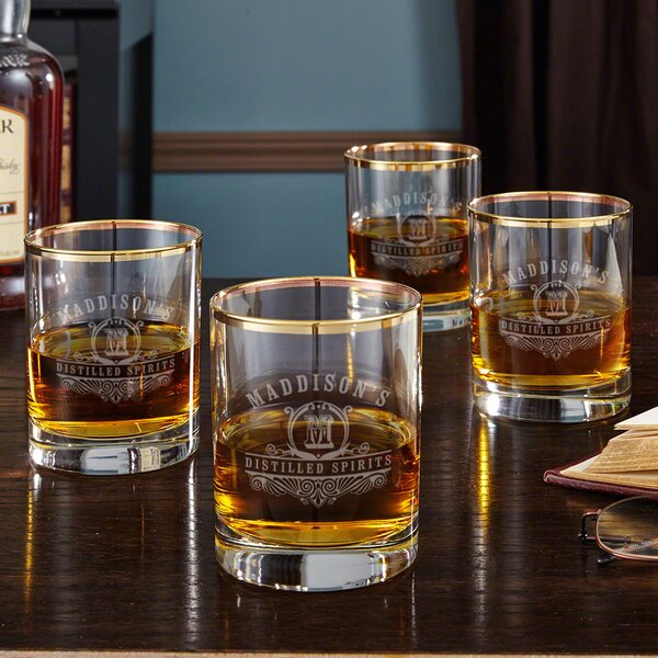 Carraway Monogram Etched 10 oz. Whiskey Glass (Set of 4) by Home Wet Bar