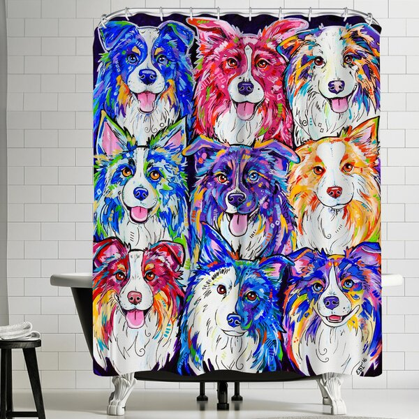 Eve Izzett Collies in Color Shower Curtain by East Urban Home