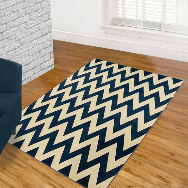 Modern Chevron Hand-Woven Blue/Beige Area Rug by LYKE Home