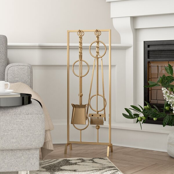 Dowell 5 Piece Metal Fireplace Tool Set By Willa Arlo Interiors