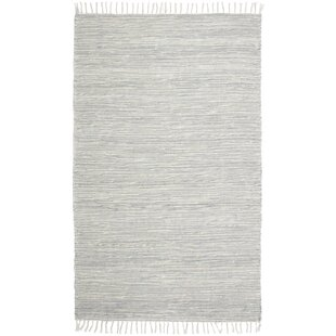 Parley Chenille Handwoven Flatweave Cotton Gray/White Area Rug by Charlton Home
