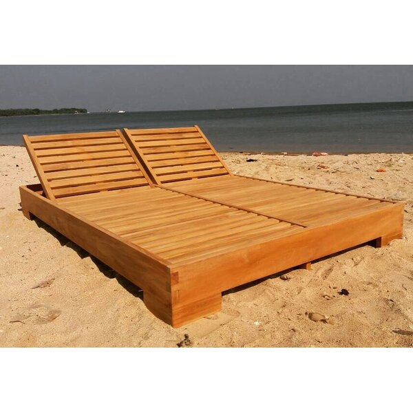 Rubin Double Reclining Teak Chaise Lounge with Cushion by Bayou Breeze Bayou Breeze