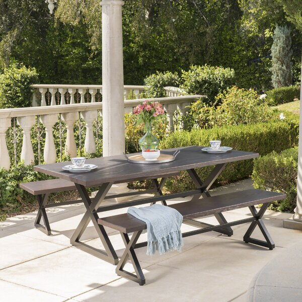 Lal Outdoor Aluminum 3 Piece Dining Set by Union Rustic