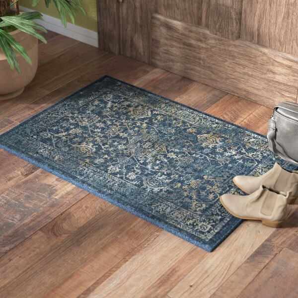 Reema Navy/Teal Area Rug by World Menagerie