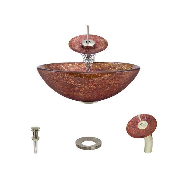 Foil Undertone Glass Circular Vessel Bathroom Sink with Faucet